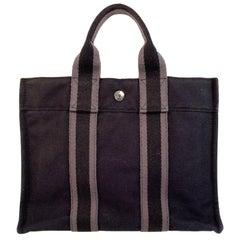 Hermes Paris Vintage Black Gray Cotton Fourre Tout PM Bag