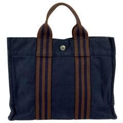 Hermes Paris Vintage Blue and Brown Cotton Fourre Tout PM Tote Bag