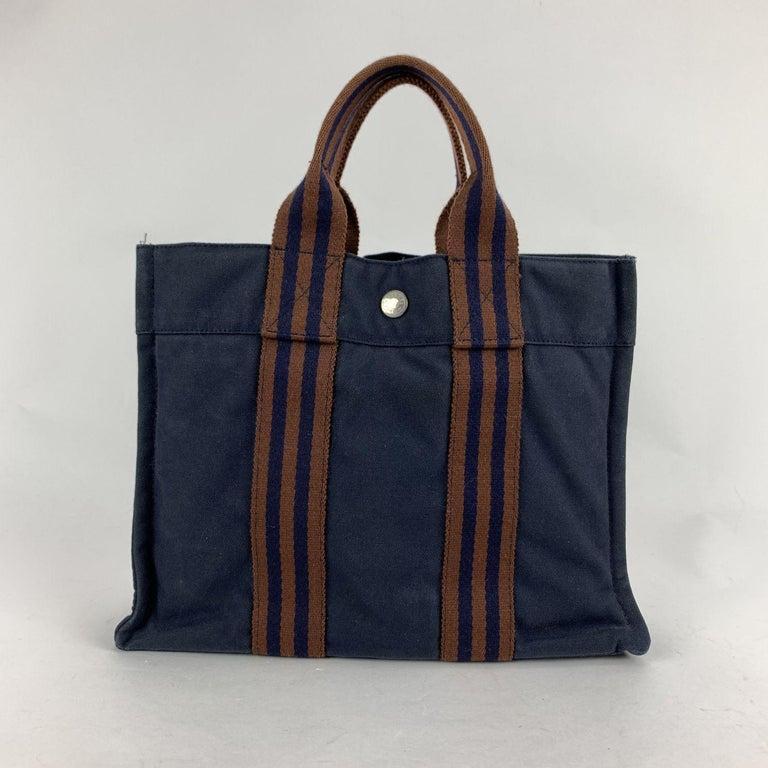 Black Hermes Paris Vintage Blue Cotton Fourre Tout PM Tote Bag For Sale