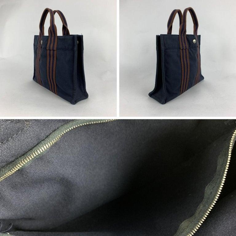 Hermes Paris Vintage Blue Cotton Fourre Tout PM Tote Bag For Sale 1