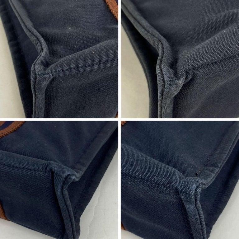 Hermes Paris Vintage Blue Cotton Fourre Tout PM Tote Bag For Sale 2