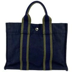 Hermes Paris Vintage Blue Cotton Fourre Tout PM Tote Bag