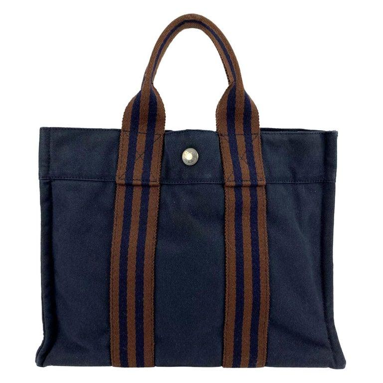 Hermes Paris Vintage Blue Cotton Fourre Tout PM Tote Bag For Sale