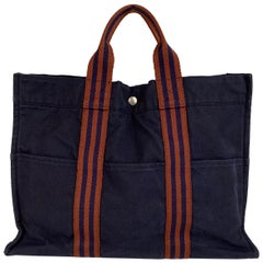 Hermes Paris Vintage Blue Cotton Tote Bag Fourre Tout MM Handbag