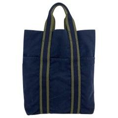 Hermes Paris Vintage Blue Green Fourre Tout Vertical Shopping Bag Tote