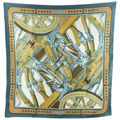 Hermes Paris Vintage Blue Silk Scarf Rythmes 1976 Cathy Latham