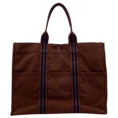 Hermes Paris Vintage Brown Cotton Canvas Fourre Tout GM Tote Bag