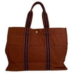 Hermes Paris Vintage Brown Cotton Canvas Tote Handbag Fourre Tout GM