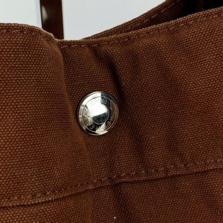 Hermes Paris Vintage Brown Cotton Fourre Tout MM Tote Bag In Excellent Condition For Sale In Rome, Rome