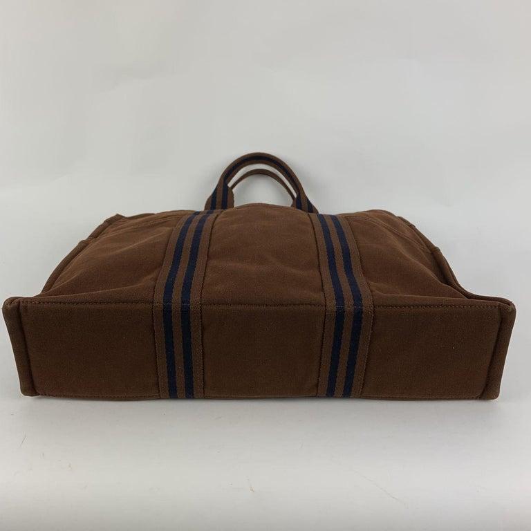 Women's Hermes Paris Vintage Brown Cotton Fourre Tout MM Tote Bag For Sale