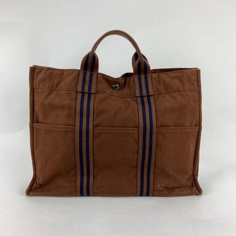 Hermes Paris Vintage Brown Cotton Fourre Tout MM Tote Bag For Sale 2