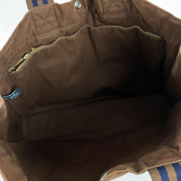 Hermes Paris Vintage Brown Cotton Fourre Tout MM Tote Bag For Sale 3