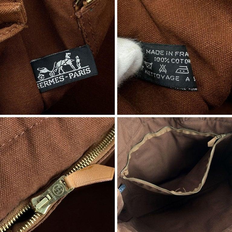 Hermes Paris Vintage Brown Cotton Fourre Tout MM Tote Bag For Sale 4