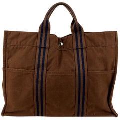 Hermes Paris Vintage Brown Cotton Fourre Tout MM Tote Bag