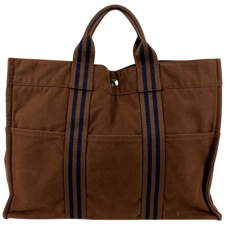 Hermes Paris Vintage Brown Cotton Fourre Tout MM Tote Bag For Sale