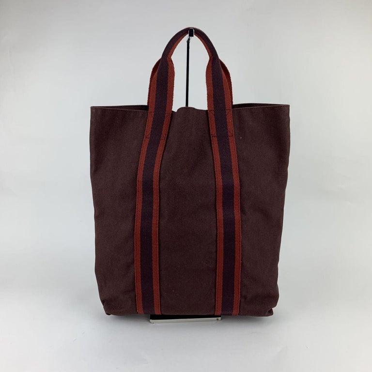Black Hermes Paris Vintage Brown Red Fourre Tout Vertical Shopping Bag Tote For Sale