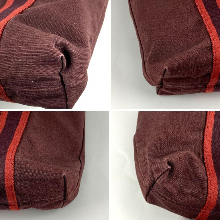 Hermes Paris Vintage Brown Red Fourre Tout Vertical Shopping Bag Tote In Excellent Condition For Sale In Rome, Rome