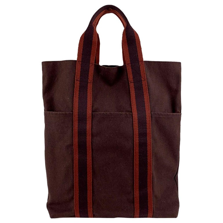 Hermes Paris Vintage Brown Red Fourre Tout Vertical Shopping Bag Tote For Sale