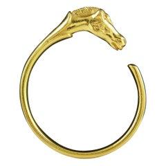 Hermes Paris Vintage Gold Toned Horse Head Bangle Bracelet