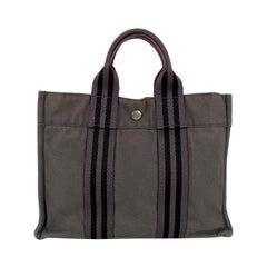 Hermes Paris Vintage Gray Cotton Canvas Fourre Tout PM Tote Handbag