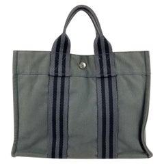 Hermes Paris Vintage Grey and Black Cotton Fourre Tout PM Tote Bag