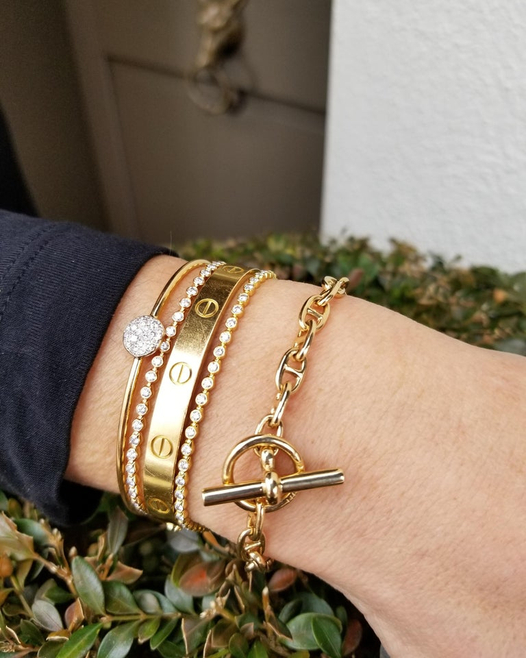 Hermes Paris Vintage Petite Gold Anchor Link Toggle Bracelet In Excellent Condition In Greenwich, CT