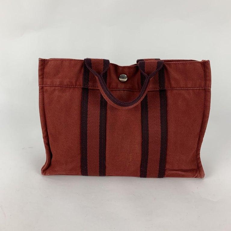 Brown Hermes Paris Vintage Red Blue Cotton Fourre Tout PM Tote Bag For Sale