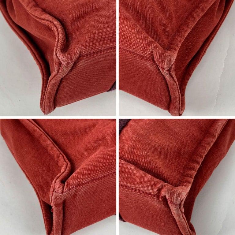 Women's Hermes Paris Vintage Red Blue Cotton Fourre Tout PM Tote Bag For Sale