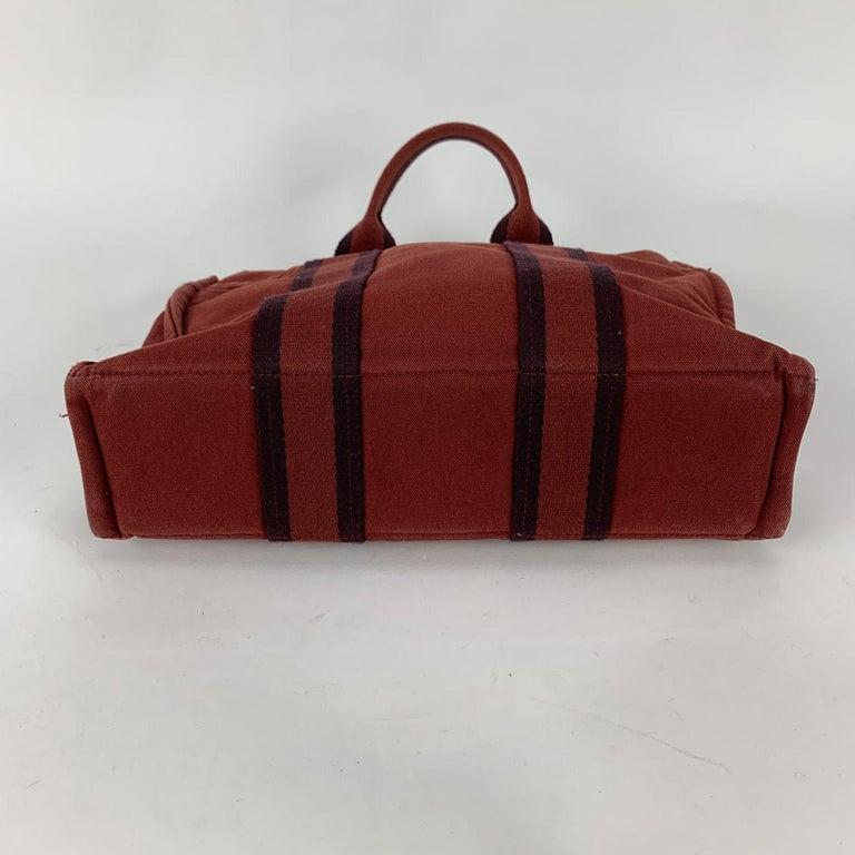 Hermes Paris Vintage Red Blue Cotton Fourre Tout PM Tote Bag For Sale 1