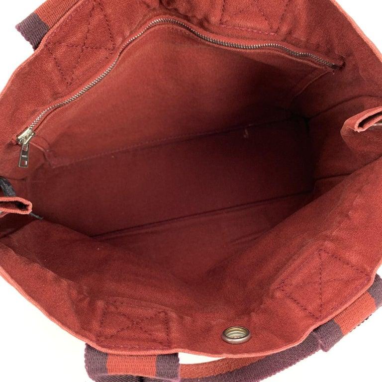 Hermes Paris Vintage Red Blue Cotton Fourre Tout PM Tote Bag For Sale 2