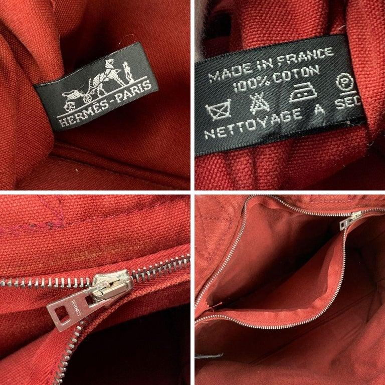 Hermes Paris Vintage Red Blue Cotton Fourre Tout PM Tote Bag For Sale 3
