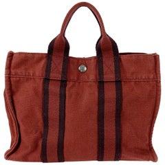 Hermes Paris Vintage Red Blue Cotton Fourre Tout PM Tote Bag