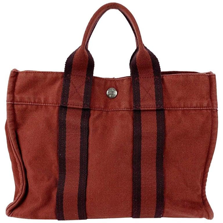 Hermes Paris Vintage Red Blue Cotton Fourre Tout PM Tote Bag For Sale