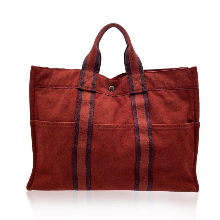Black Hermes Paris Vintage Red Canvas Cotton Fourre Tout MM Bag Tote