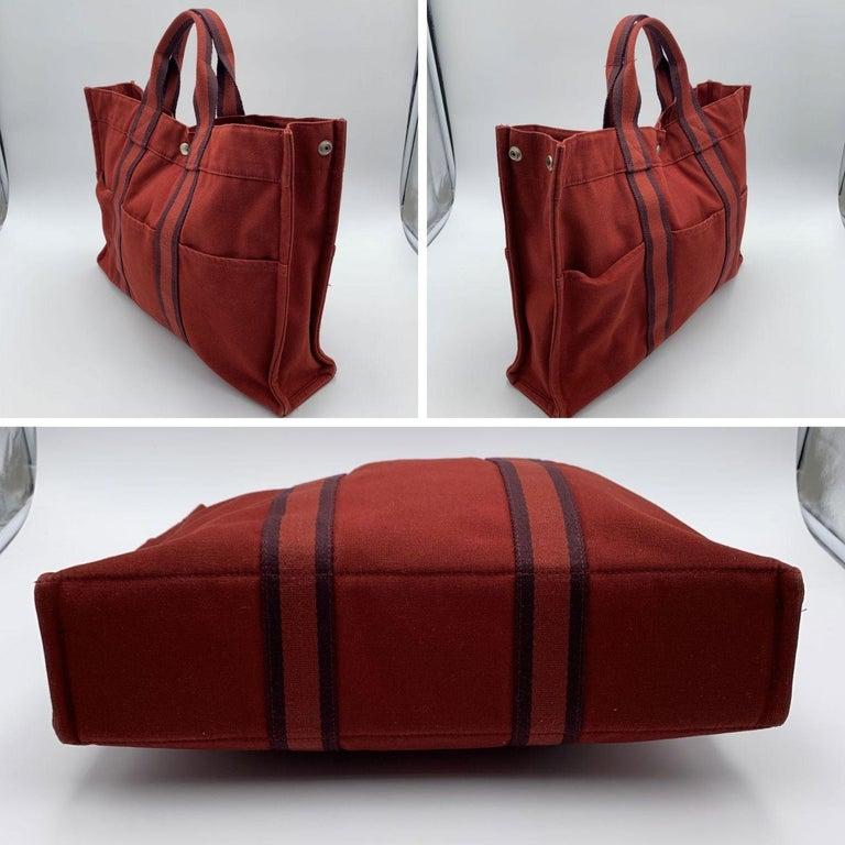 Hermes Paris Vintage Red Canvas Cotton Fourre Tout MM Bag Tote In Excellent Condition In Rome, Rome