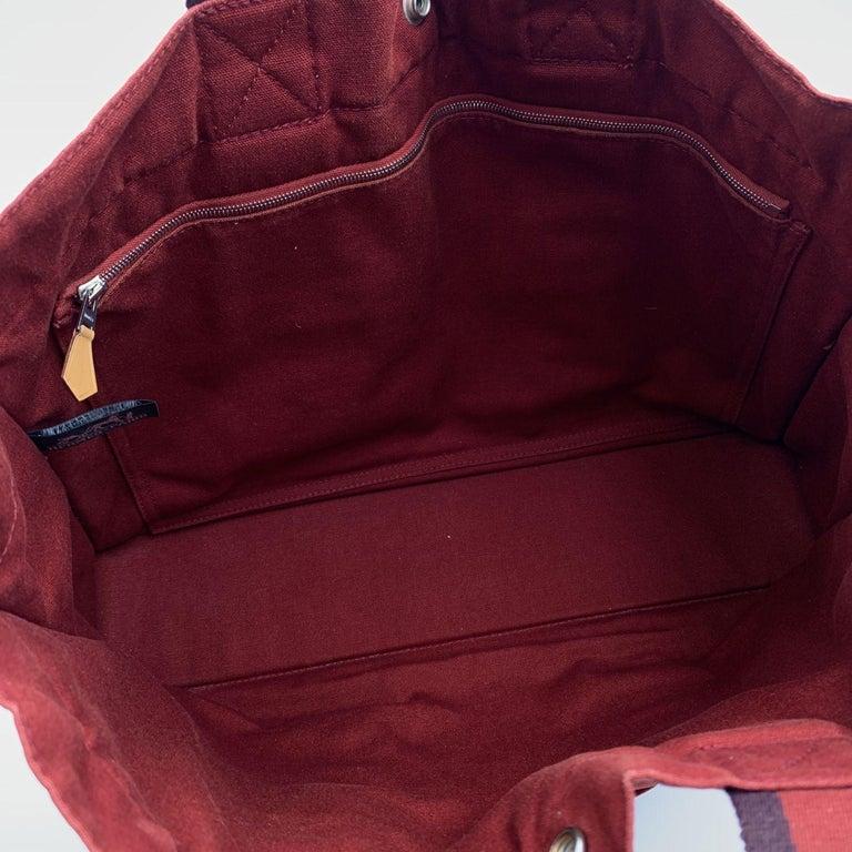 Women's Hermes Paris Vintage Red Canvas Cotton Fourre Tout MM Bag Tote
