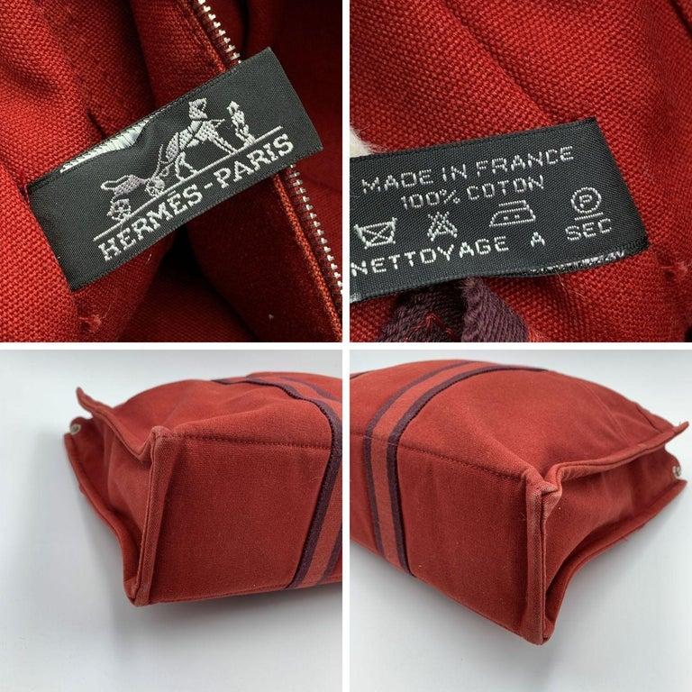 Hermes Paris Vintage Red Canvas Cotton Fourre Tout MM Bag Tote 2