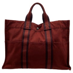 Hermes Paris Vintage Red Canvas Cotton Fourre Tout MM Bag Tote