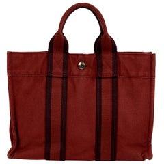 Hermes Paris Vintage Red Cotton Fourre Tout PM Tote Bag
