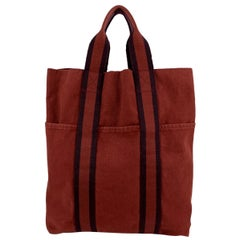 Hermes Paris Vintage Red Fourre Tout Vertical Shopping Bag Tote