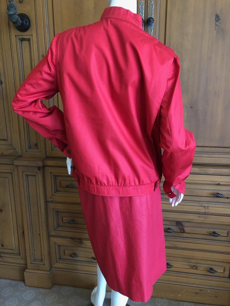 Hermes Paris Vintage Red Polished Cotton Skirt Suit with Signature Details 6