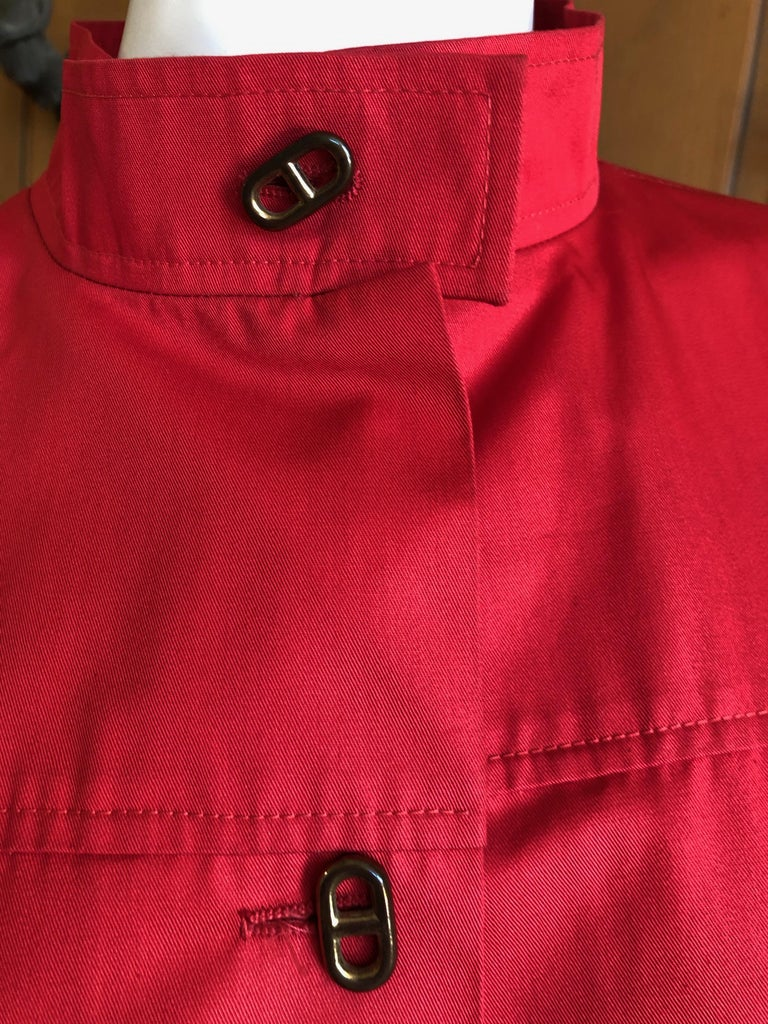 Hermes Paris Vintage Red Polished Cotton Skirt Suit with Signature Details In Excellent Condition In San Francisco, CA