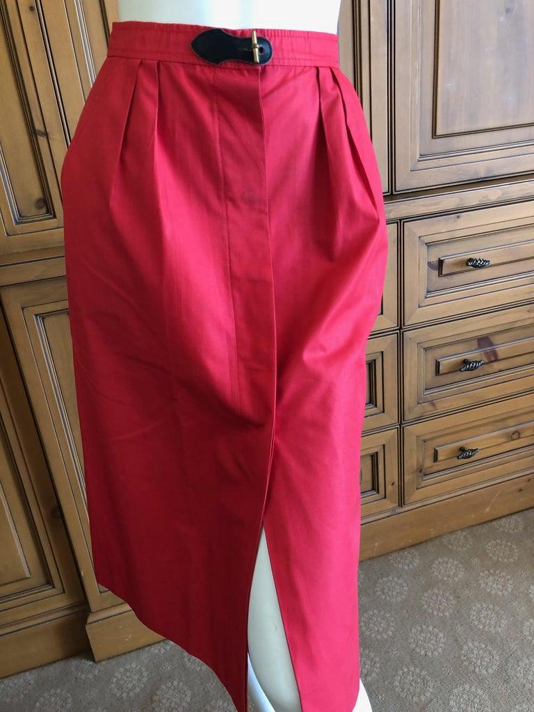 Women's or Men's Hermes Paris Vintage Red Polished Cotton Skirt Suit with Signature Details