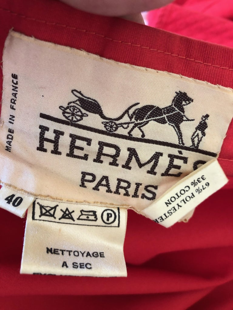 Hermes Paris Vintage Red Polished Cotton Skirt Suit with Signature Details 1