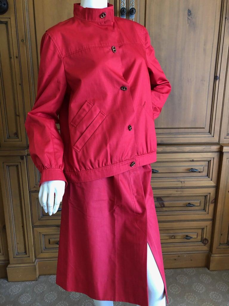 Hermes Paris Vintage Red Polished Cotton Skirt Suit with Signature Details 2
