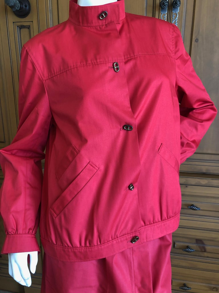 Hermes Paris Vintage Red Polished Cotton Skirt Suit with Signature Details 3