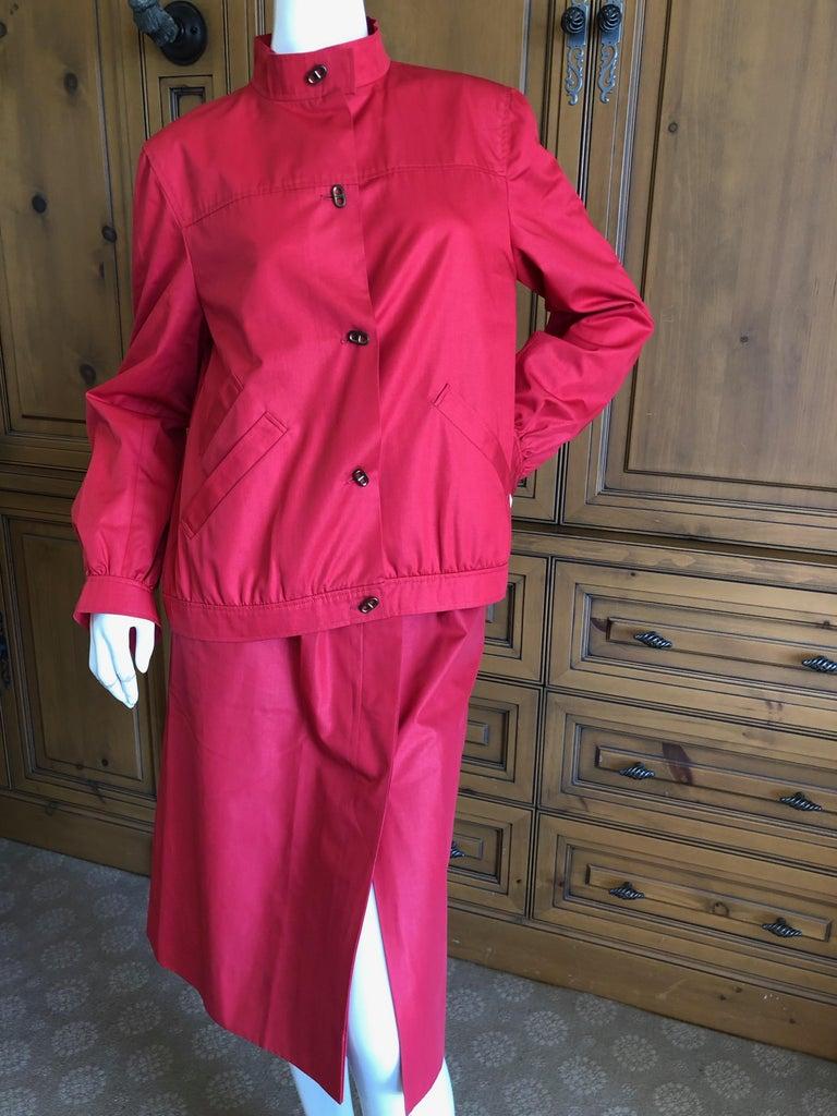 Hermes Paris Vintage Red Polished Cotton Skirt Suit with Signature Details 4