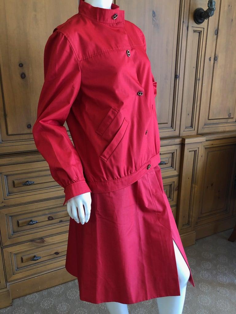 Hermes Paris Vintage Red Polished Cotton Skirt Suit with Signature Details 5