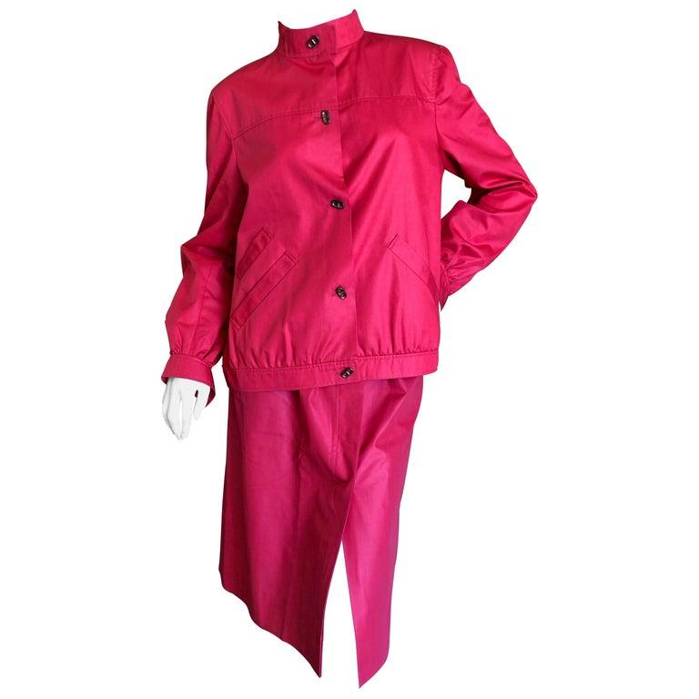 Hermes Paris Vintage Red Polished Cotton Skirt Suit with Signature Details