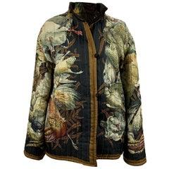 Hermes Paris Vintage Silk and Velvet Reversible Jacket Gibiers Size S